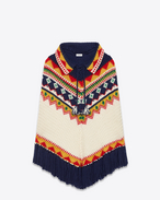 Faire Isle Poncho in Navy Blue, Ivory, Red, Yellow and Green Wool, Mohair and Polyamide
