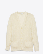 Grunge Oversized V-Neck Cardigan in Ivory Metallic Polyamide, Acrylic and Mohair