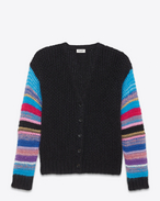 V-Neck Cardigan in Black and Multicolor Mohair, Nylon and Silk