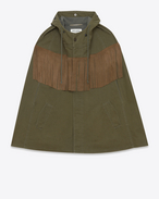 Suede Fringed Cape in Khaki Cotton and Linen Gabardine
