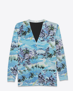 Oversized V-Neck Cardigan in Blue, Grey, Green and Yellow Hawaiian Printed Silk, Virgin Wool and Viscose