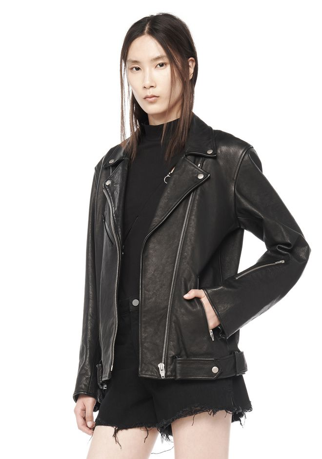 T by ALEXANDER WANG JACKETS AND OUTERWEAR  Women WAXY COW LEATHER BIKER JACKET