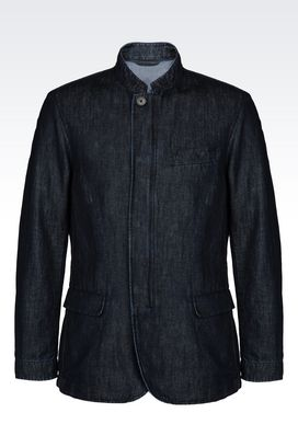 Armani Dust jackets Men pea coat in cotton and linen twill