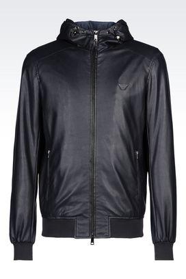 Armani Dust jackets Men hooded blouson in faux leather