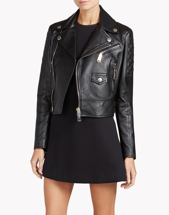 leather biker jacket coats & jackets Woman Dsquared2