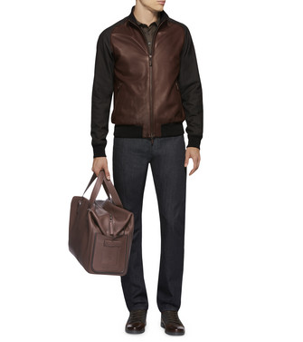 ERMENEGILDO ZEGNA: Leather Outerwear Maroon - 41610670AE