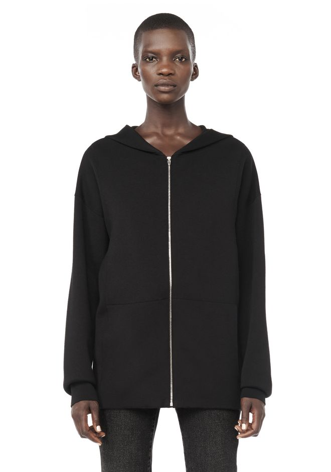 ALEXANDER WANG JACKETS AND OUTERWEAR  Women ZIP HOODIE WITH SEAMLESS POCKET
