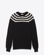 Classic Crewneck Sweater in Black and Ivory Striped Wool, Mohair and Nylon