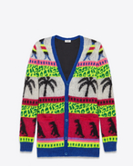 Oversized Cardigan in Multicolor Dinosaur and Palm Mohair and Polyester Jacquard