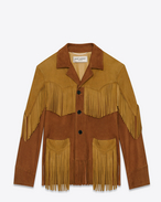 Fringed Coat in Cognac and Saffron Suede
