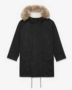 Hooded Parka in Black Cotton and Linen Gabardine, Ivory Shearling and Coyote Fur
