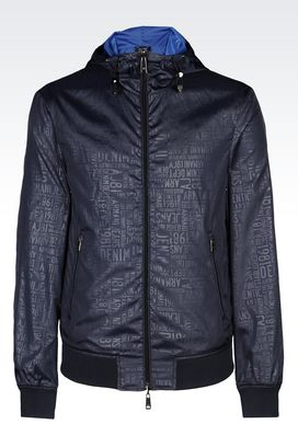 Armani Bomber jackets Men hooded blouson in branded fabric