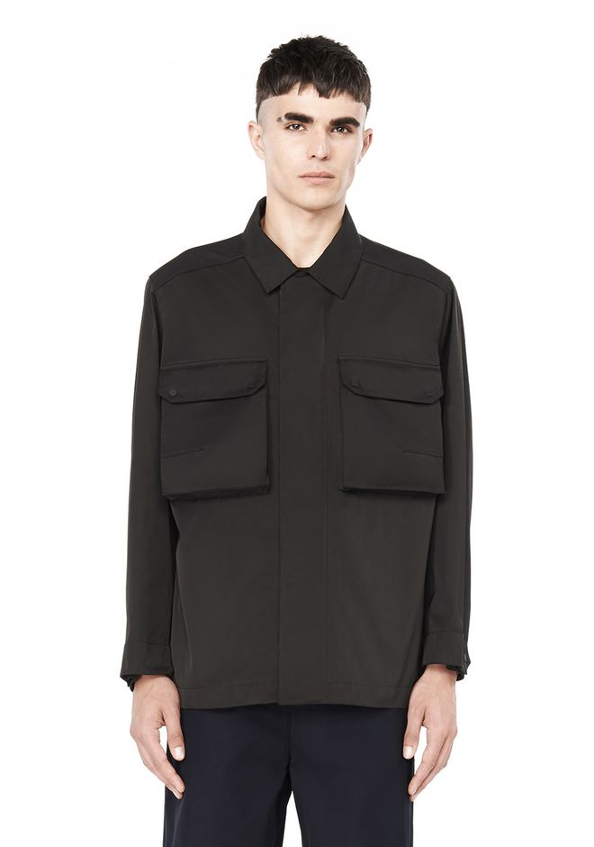 T by ALEXANDER WANG JACKETS AND OUTERWEAR  TECH TWILL COLLARED SHIRT JACKET