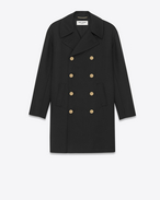 Oversized Double Breasted CABAN Jacket in Black Wool Crêpe