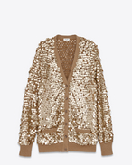Cardigan oversized color oro intenso in cotone e paillette.