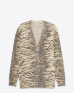 Oversized V-Neck Cardigan in Beige Tiger Printed Mohair, Nylon and Wool
