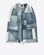 Patchwork Cape in Vintage Medium Blue Used Denim