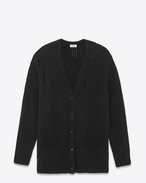 Oversized GRUNGE V-Neck Cardigan in Black Mohair, Nylon and Wool