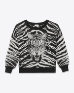 Crewneck Sweater in Black, Ivory and Heather Grey Tiger Head Woven Mohair, Polyamide and Virgin Wool Jacquard