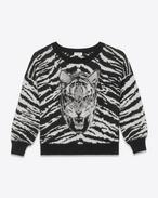 Felpa girocollo nera, avorio e grigio erica in mohair intessuto, poliammide e jacquard di lana vergine intessuto con motivo tiger head