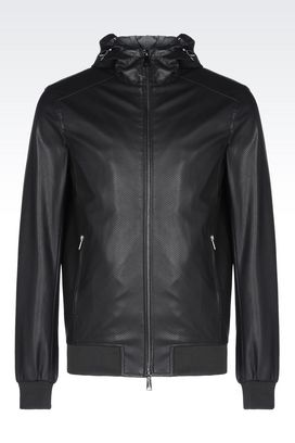 Armani Bomber jackets Men hooded blouson in faux leather