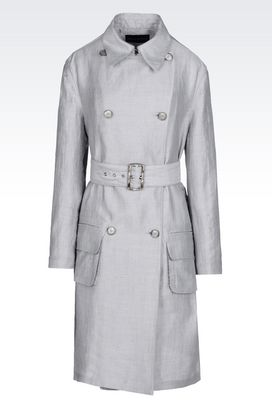 Armani Double-breasted coats Women runway canvas trench