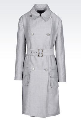 Armani Manteaux à deux boutons Femme trench de défilé en toile