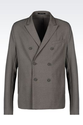 Armani Double-breasted jackets Men double-breasted runway jacket in embossed cotton