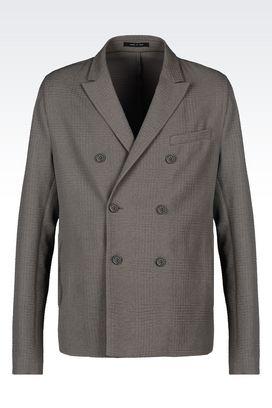 Armani Vestes croisées Homme veste croisée de défilé en coton gaufré