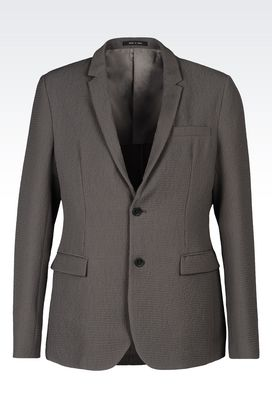 Armani Two buttons jackets Men runway slim fit jacket in embossed nylon