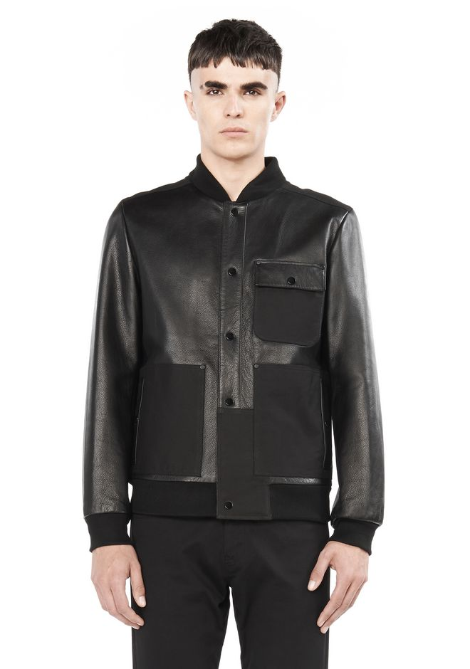 T by ALEXANDER WANG JACKETS AND OUTERWEAR  LEATHER AND CANVAS COMBO BOMBER