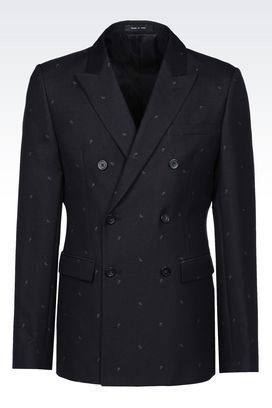 Armani Double-breasted jackets Men runway double-breasted micro paisley jacket