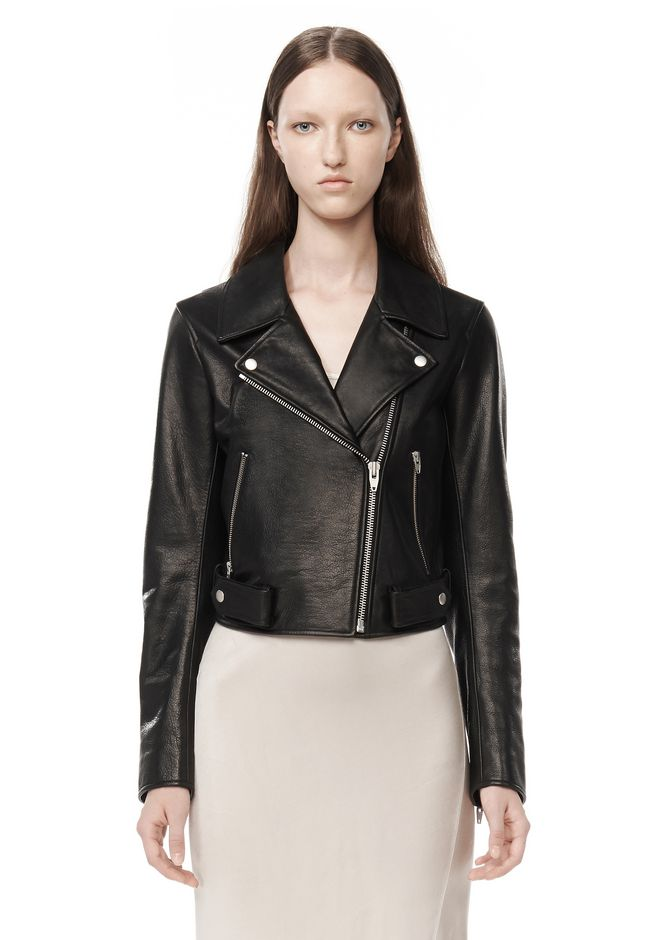 T by ALEXANDER WANG JACKETS AND OUTERWEAR  Women WAXY LEATHER CROPPED MOTO JACKET