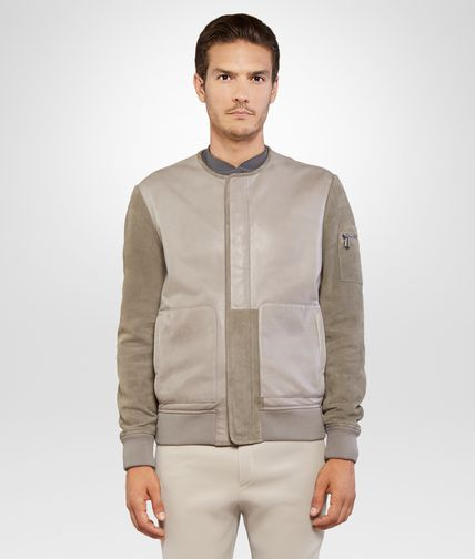 BLOUSON IN HAZE LEATHER WITH SUEDE SLEEVES