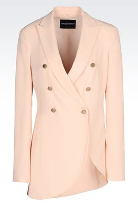 Armani Double-breasted jackets Women double-breasted runway jacket in sand silk blend