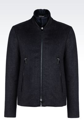 Armani Blouson jacket Men reversible blouson in wool blend