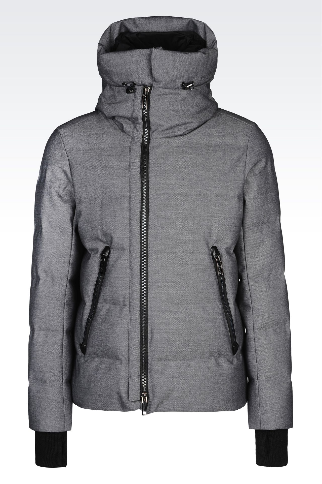 Mens down jacket with hood - Down Jacket In Nylon With Removable Hood Down Coats Men By Armani 0