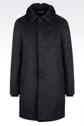 Armani Coats Men reversible coat in wool blend