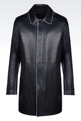 Armani Coats Men runway coat in napa lambskin