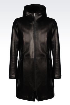 Armani Coats Men nappa leather coat