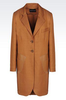 Armani Cache-poussière Femme manteau de défilé en toile et mélange de lin