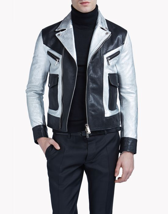 silver & black leather kiodo coats & jackets Man Dsquared2