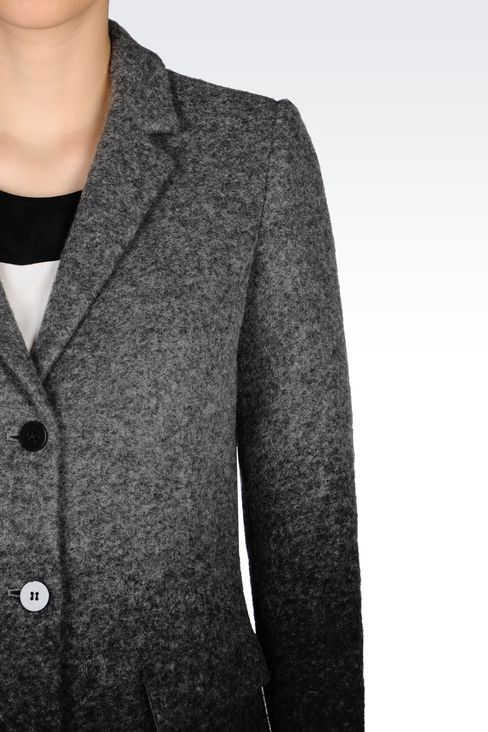 COAT IN BOILED WOOL: Single-breasted coats Women by Armani - 5