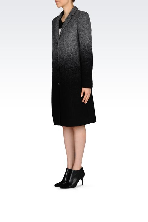 COAT IN BOILED WOOL: Single-breasted coats Women by Armani - 3