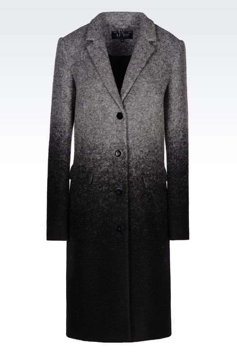 COAT IN BOILED WOOL: Single-breasted coats Women by Armani - 1