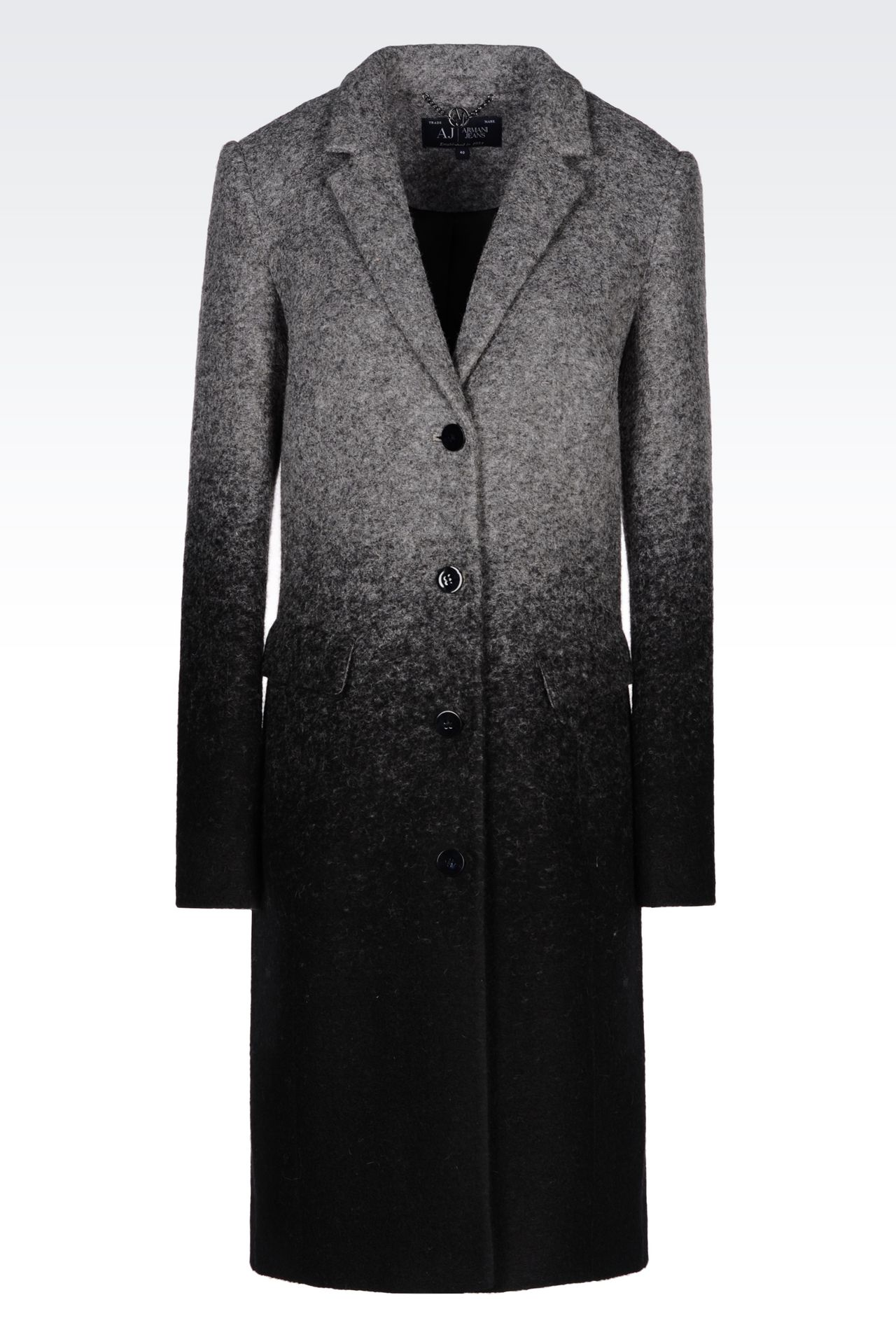 COAT IN BOILED WOOL: Single-breasted coats Women by Armani - 0