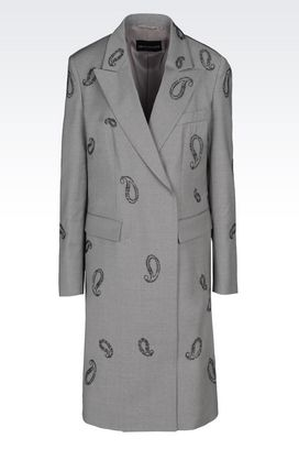 Armani Double-breasted coats Women runway coat in virgin wool