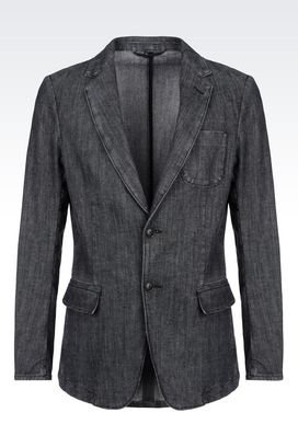 Armani Two buttons jackets Men slim fit jacket in stretch cotton