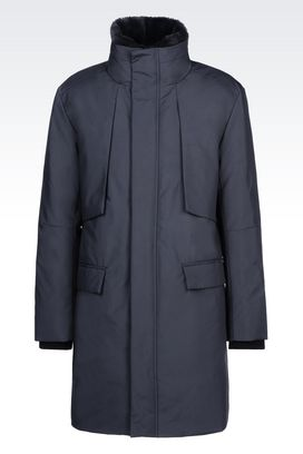 Armani Single-breasted coats Men trench coat in technical fabric