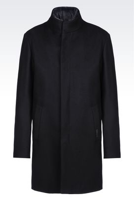 Armani Single-breasted coats Men coat in boiled wool
